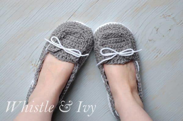 Free Crochet Pattern For Baby Boat Shoes : 14 Free Crochet Slipper Patterns - Whistle and Ivy