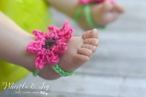 Summer Flower Baby Barefoot Sandals Whistle And Ivy