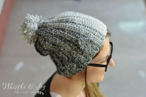 Free Crochet Pattern - Timber Wolf Slouchy  | Gear up for winter with this cute and cozy slouchy hat.