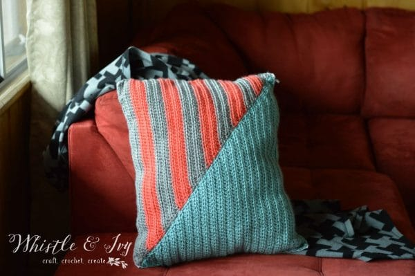 Free Crochet Pattern - Geo Stripe Pillow | Crochet this beautiful geometric pillow, and brighten any room.