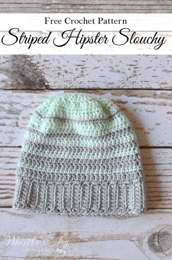 Free Crochet Pattern - Striped Hipster Slouchy Beanie | Make this easy and cozy hat with perfect stripes