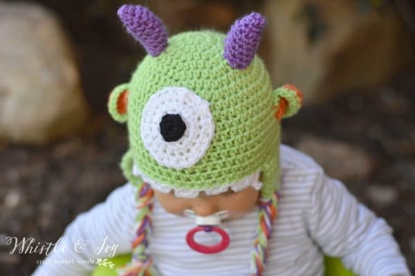 Littlest Monster Crochet Baby Hat - Make this adorable baby hat, perfect for the Halloween season. Get the free crochet pattern.