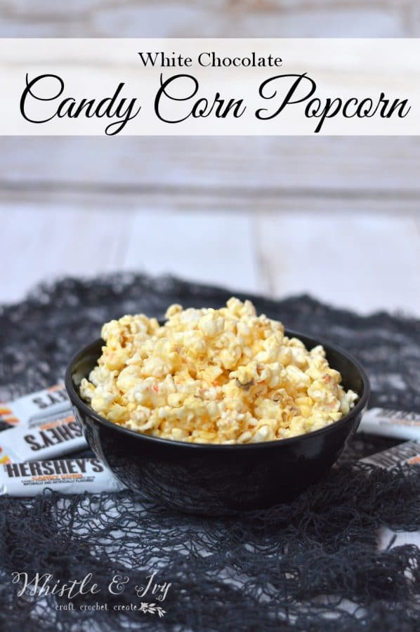 White Chocolate Candy Corn Popcorn - Easy and delicious treat, make it in 5 minutes! #ad