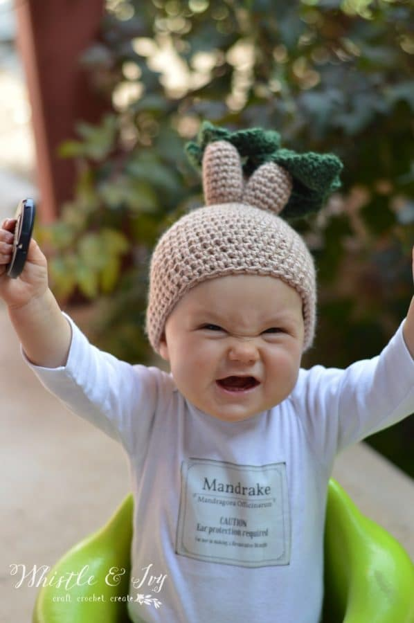 mandrake baby costume crochet hat and label free pattern