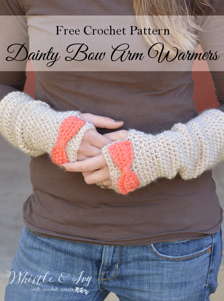 Dainty Bow Crochet Arm Warmers - Whistle and Ivy