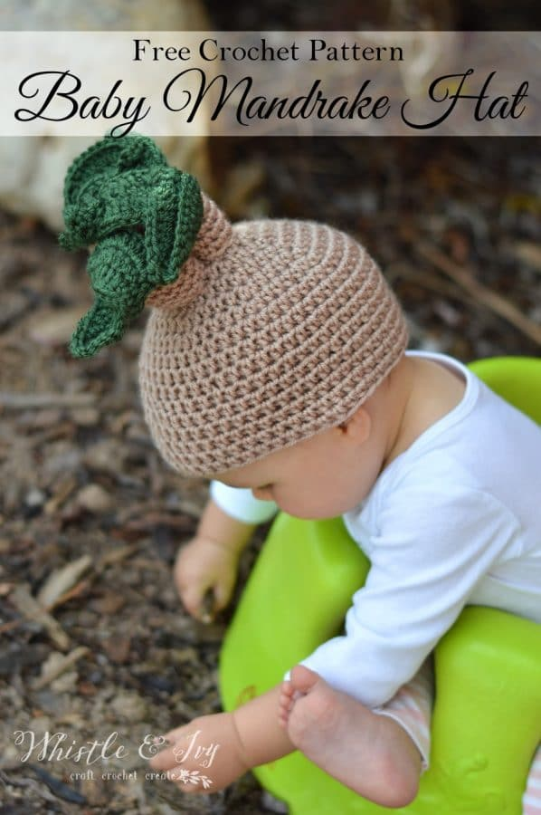 Crochet Halloween Baby Hat Pattern : Crochet Mandrake Baby Hat - Whistle and Ivy