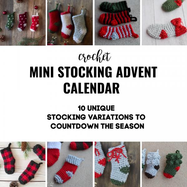 cute crochet mini stockings advent countdown calendar Christmas holiday crochet pattern