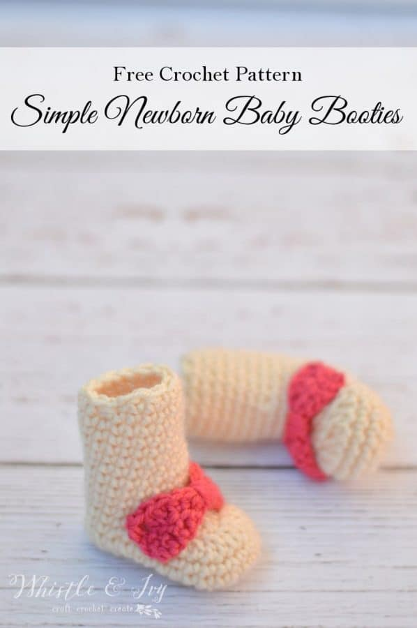Simple Newborn Baby Boots - Make these simple and cute boots for your newborn baby, perfect for keeping those tiny toes warm and cozy. Pattern by Whistle and Ivy