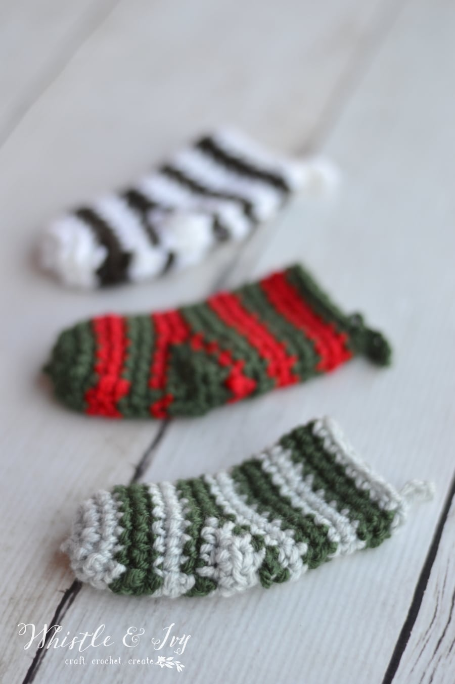 crochet stocking advent calendar day 5 whistle and ivy