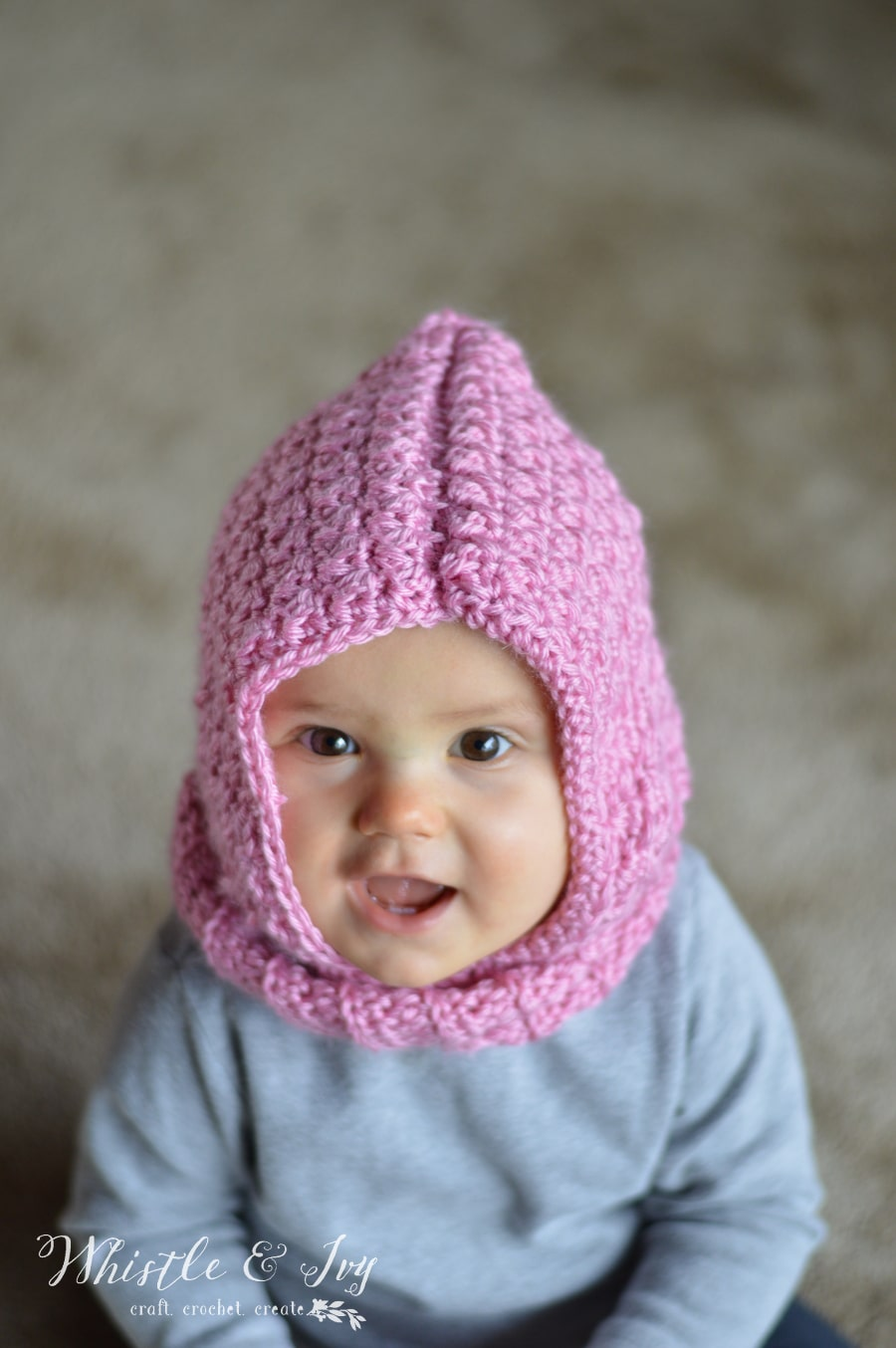 Crochet Baby Cowl Pattern Free : Crochet Baby Hooded Cowl - Whistle and Ivy