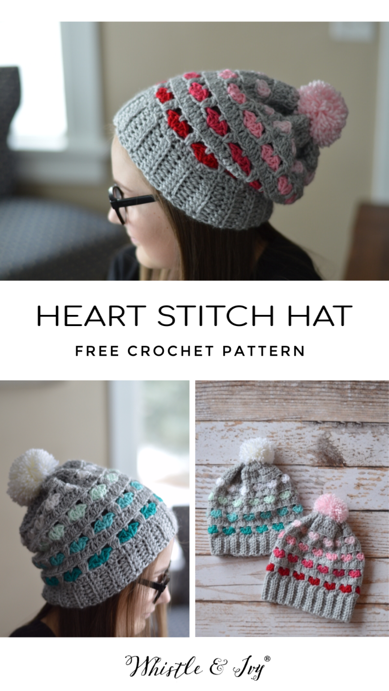 crochet heart stitch hat pretty little hearts free crochet pattern