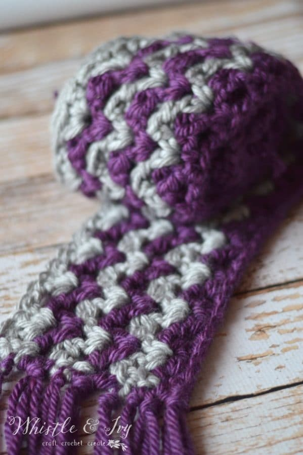 Free Crochet Pattern Striped Scarf : Ric Rac Striped Scarf - Whistle and Ivy