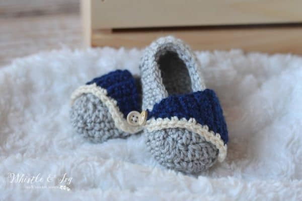 Baby Boardwalk Slip-ons - Get the crochet pattern for these adorable baby shoes, perfect for both girls and boys.