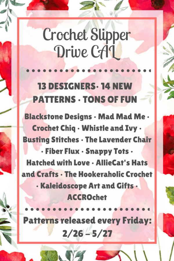 Crochet Slipper Drive CAL - Crochet along as 13 designers release 14 free slipper crochet patterns! Make slippers to donate to local charities!