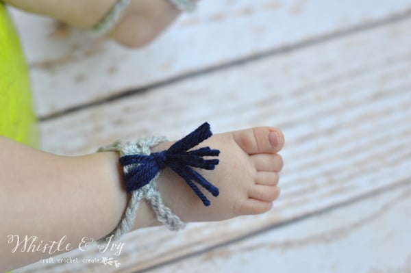 Crochet Tassel Barefoot Sandals - Crochet these adorable barefoot sandals in minutes. They use very little yarn and will look adorable with a sun dress!