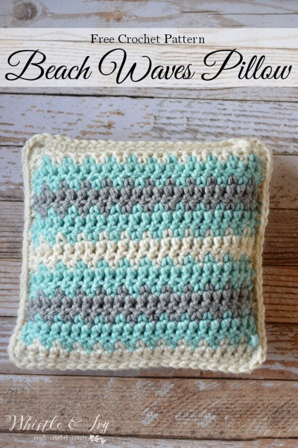 Crochet Beach Waves Pillow Whistle And Ivy
