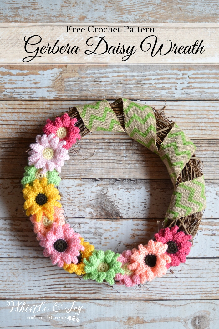 Free Crochet Pattern: Gerbera Daisy Wreath | Make this beautiful and bright wreath for your home! Make with pretty crocheted Gerbera Daisies!