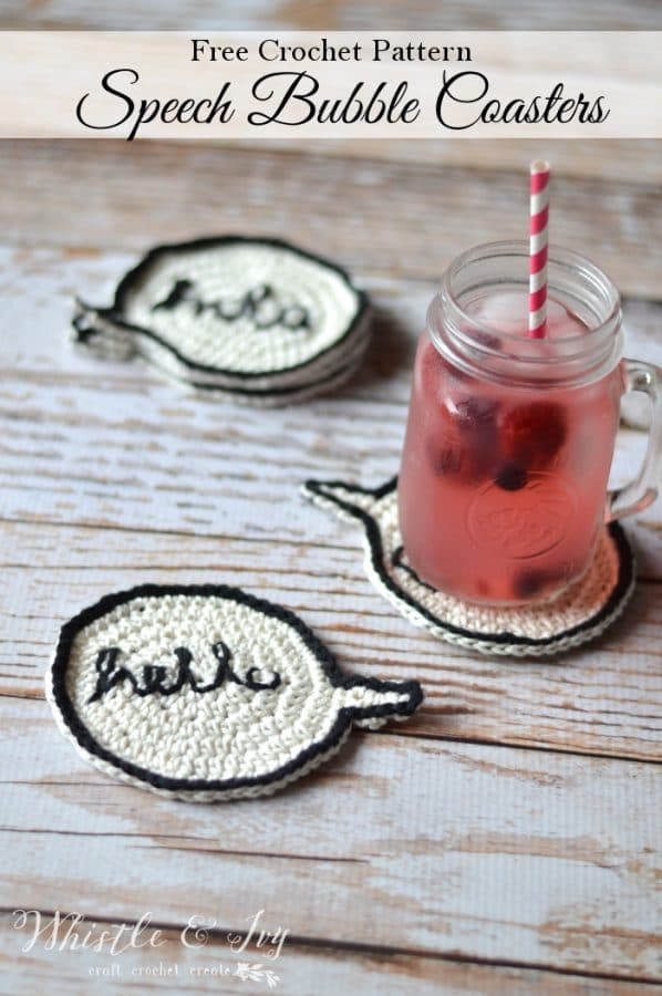 Free Crochet Pattern - Crochet speech bubble coasters | Make these super fun conversational coasters for your home! Personalize with any word you like!