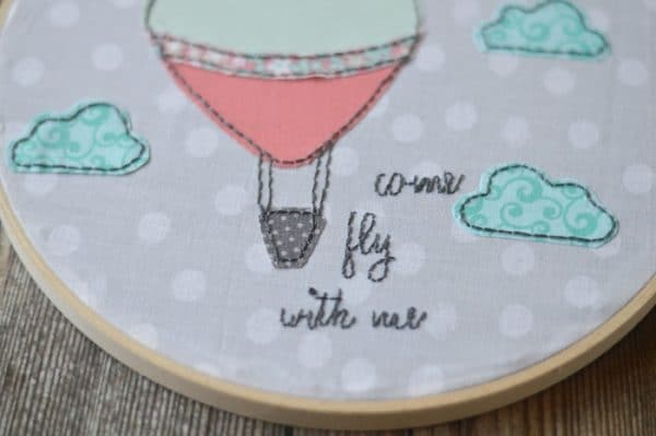 Hot air ballon hoop art with come fly with me wording
