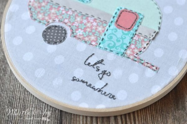 Vintage Camper Embroidery - Make this cute and EASY embroidery hoop art. This fun project, featuring an adorable retro camper, is perfect for beginners!