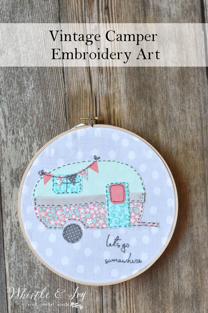 Vintage camper embroidery whistle and ivy