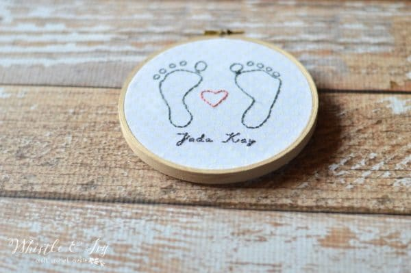 Baby Footprint Embroidery - Make this beautiful embroidery project of your baby's footprints, makes a perfect keepsake or gift to a loved one.