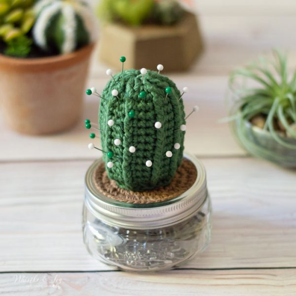 cute summer crochet idea cactus pincushion free crochet pattern