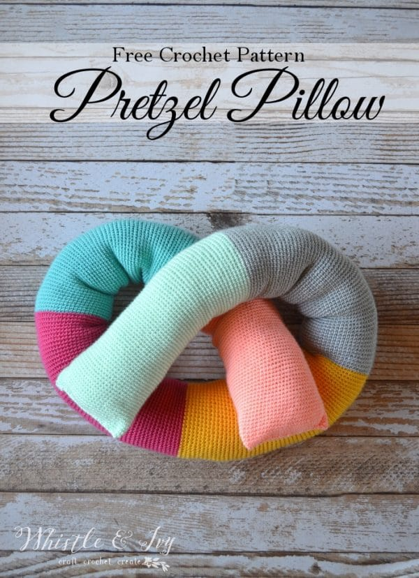 Free Crochet Pattern: Crochet Pretzel Pillow | This fun, pretzel-shaped pillow is fun to make, and fun to use and is multifunctional!