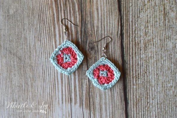 Free Crochet Pattern: Granny Square Earrings | Make your favorite crocheted item (granny squares) into these adorable mini earrings!