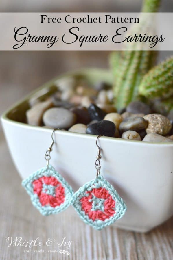Crochet Granny Square Earrings Whistle And Ivy
