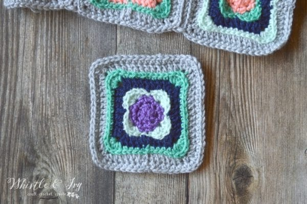 "FREE Crochet Pattern: Aurora Flora Crochet Square - Use these pretty 5"" squares for your next afghan or granny square project!"