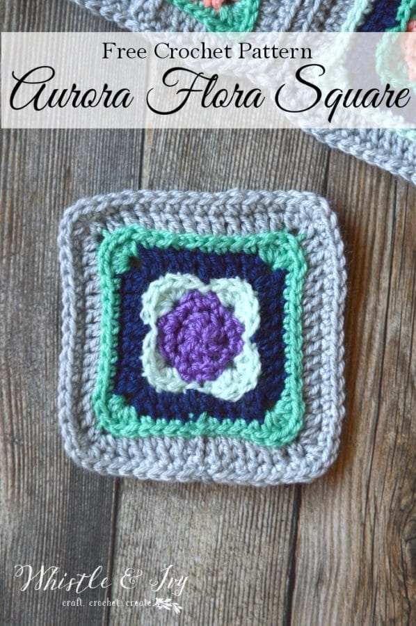 """FREE Crochet Pattern: Aurora Flora Crochet Square - Use these pretty 5"""" squares for your next afghan or granny square project!"""