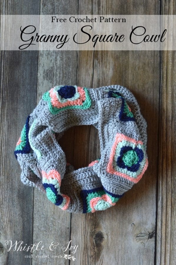 Granny Square Cowl Crochet Pattern Whistle And Ivy