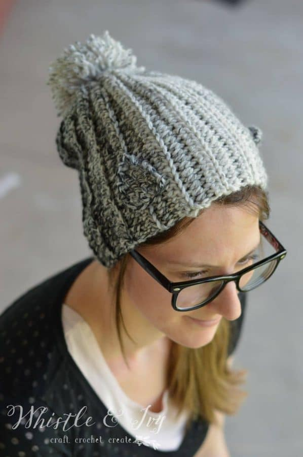 FREE Crochet Pattern: Wolf Pup Slouchy Hat | Use this woodsy variegated yarn to make this cute slouchy with adorable little wolf pup ears.