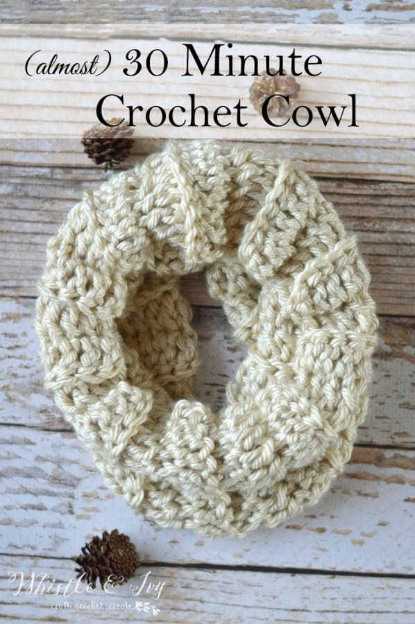 Almost 30 Minute Crochet Cowl Whistle And Ivy