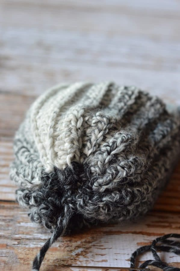 FREE Crochet Pattern: Wolf Pup Slouchy Hat   Use this woodsy variegated yarn to make this cute slouchy with adorable little wolf pup ears.