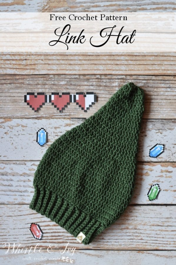 FREE Crochet Pattern: Crochet Link Hat | Inspired by a famous and classic video game hero, and perfect for a costume! Adult and Child sizes included.