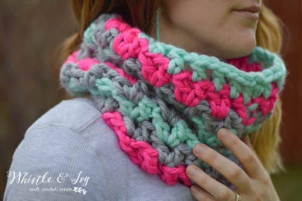 FREE Crochet Pattern: Chunky V-Stitch Cowl | Snuggle into this cozy V-stitch cowl worked with chunky yarn. It keeps your neck and chin warm and toasty!