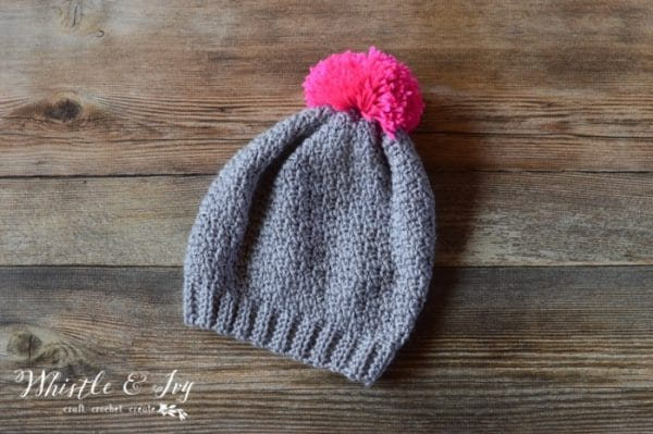 Free Crochet Pattern - Autumn Frost Slouchy Hat | Make this cozy and cute slouchy hat, and add a lovely pop of color with a soft pom-pom on top!