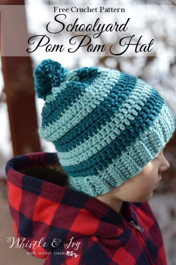 FREE Crochet Pattern: Schoolyard Pom Pom Hat - The perfect simple striped hats for kids!