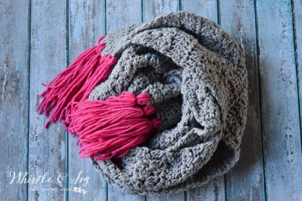 FREE Crochet Pattern: Smoky Mountain Super Scarf | Jump on the newest winter trend and crochet this cozy and chunky super scarf! It works up quick, too!