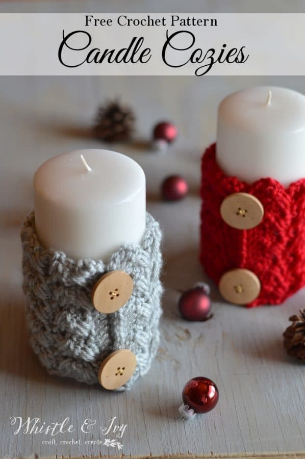 FREE Crochet Pattern: Crochet Candle Cozies | Make these gorgeous candle cozies, a perfect addition to your Holiday vignette or mantle!
