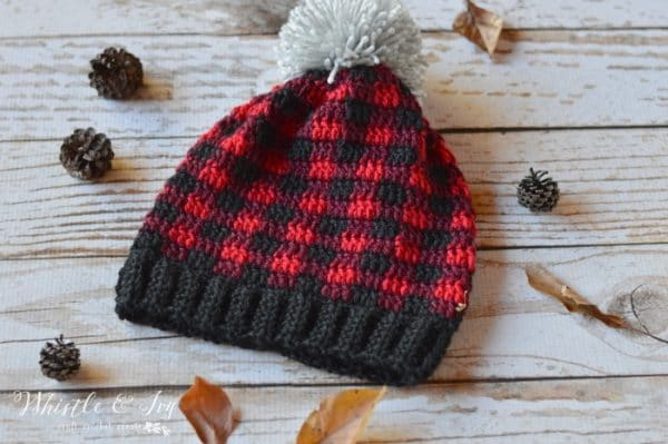 Women Crochet Plaid Slouchy Hat Whistle And Ivy
