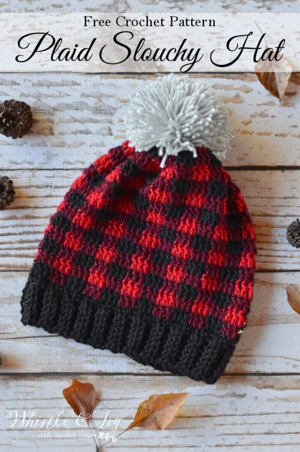 crochet red buffalo plaid hat for women