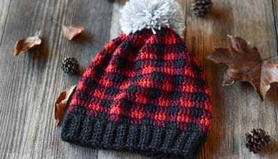 Women Crochet Plaid Slouchy Hat