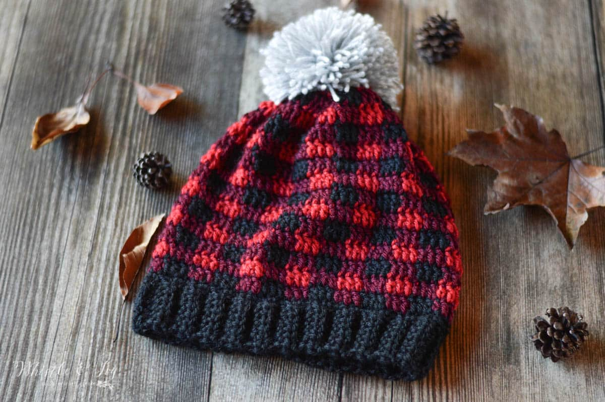 eed23369 Crochet Plaid Hat - Free Crochet Pattern - Whistle and Ivy