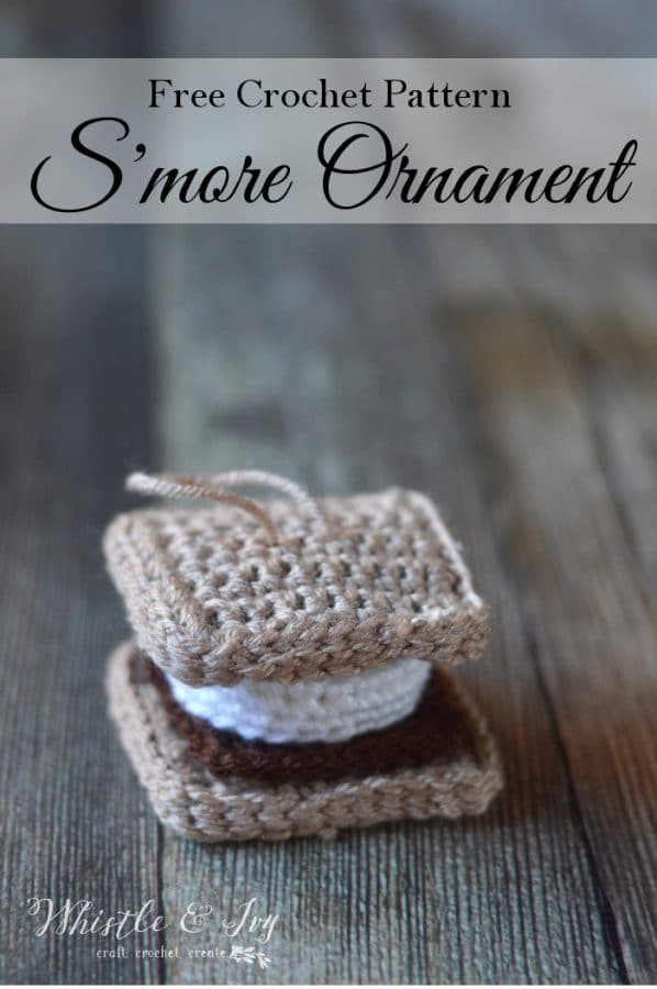 FREE Crochet Pattern: Crochet S'more Ornament | This adorable little ornament is fun to make and looks almost good enough to eat!