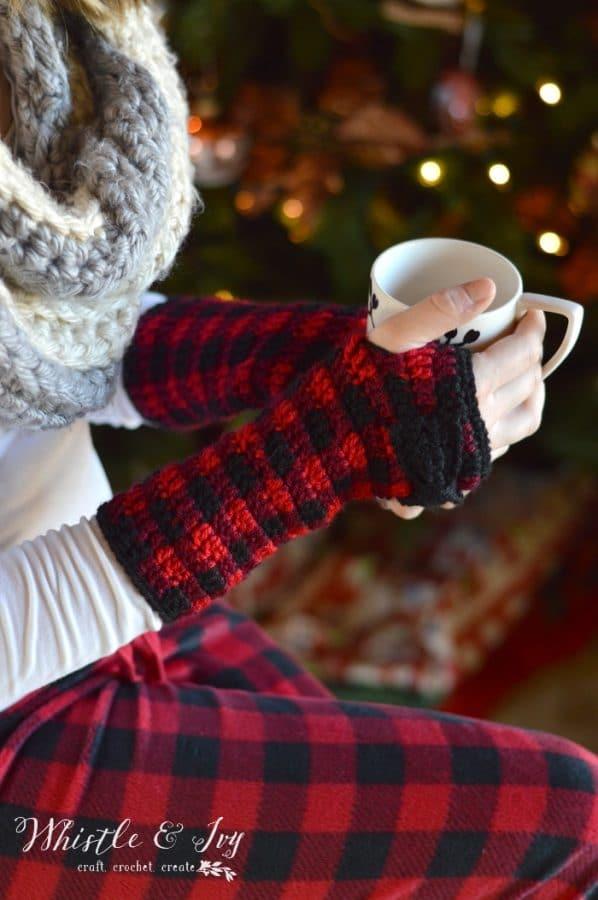 Crochet Plaid Arm Warmers Free Crochet Pattern Whistle