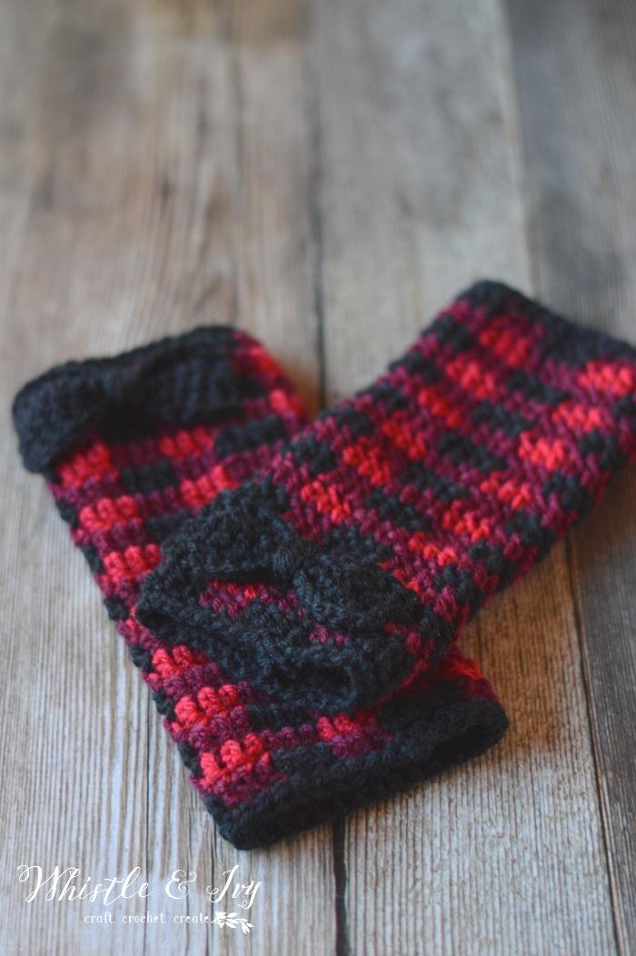 Crochet Plaid Arm Warmers - Free Crochet Pattern