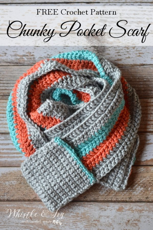 Crocheted Pocket Scarf: Get the FREE pattern for this gorgeous scarf, with hand-warming pockets! It works up quickly with this chunky and silky yarn.